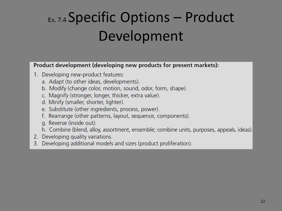 Ex. 7.4 Specific Options – Product Development