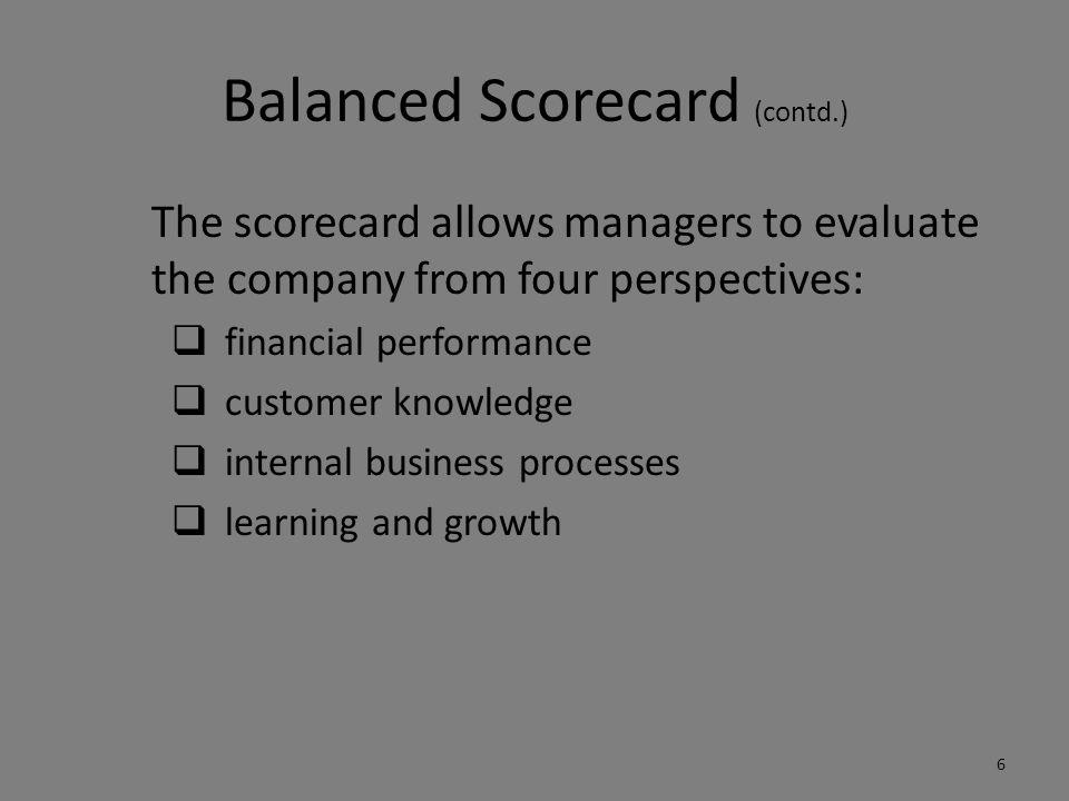 Balanced Scorecard (contd.)