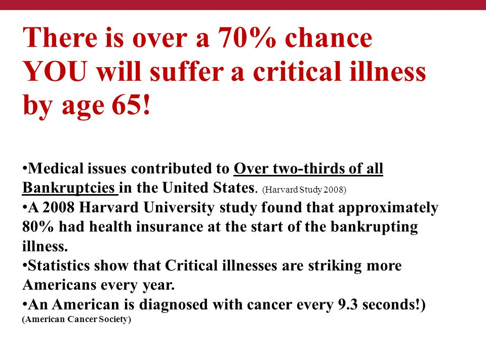 YOU will suffer a critical illness by age 65!