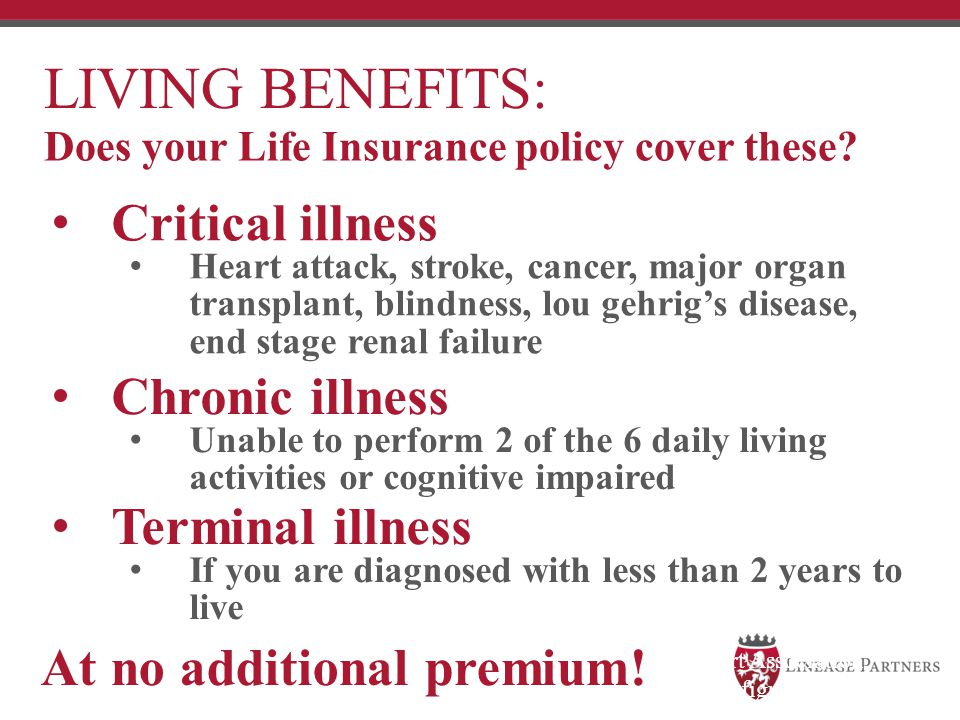 LIVING BENEFITS: Critical illness Chronic illness Terminal illness