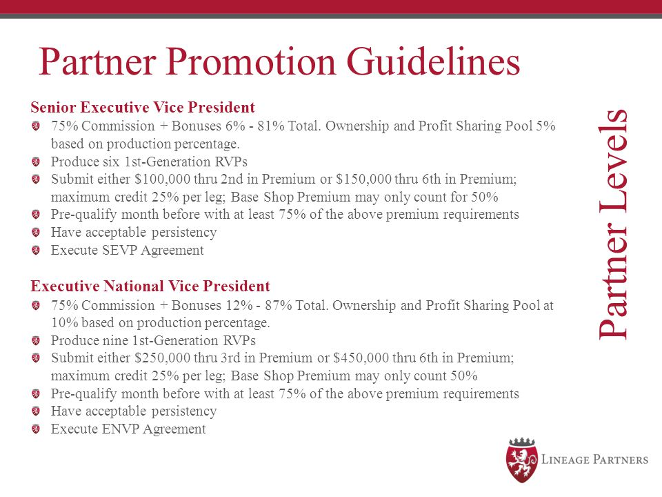 Partner Levels Partner Promotion Guidelines