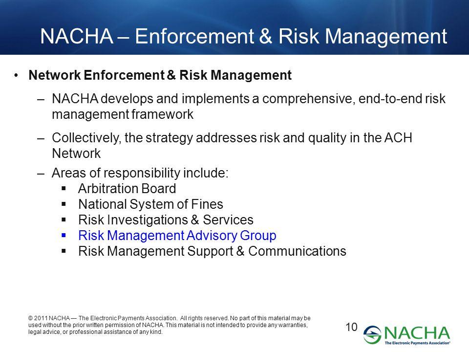 NACHA – Enforcement & Risk Management