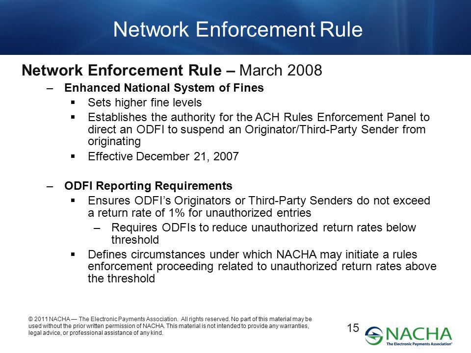 Network Enforcement Rule