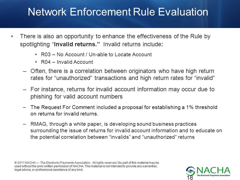 Network Enforcement Rule Evaluation