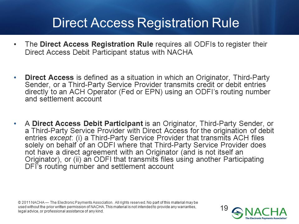 Direct Access Registration Rule