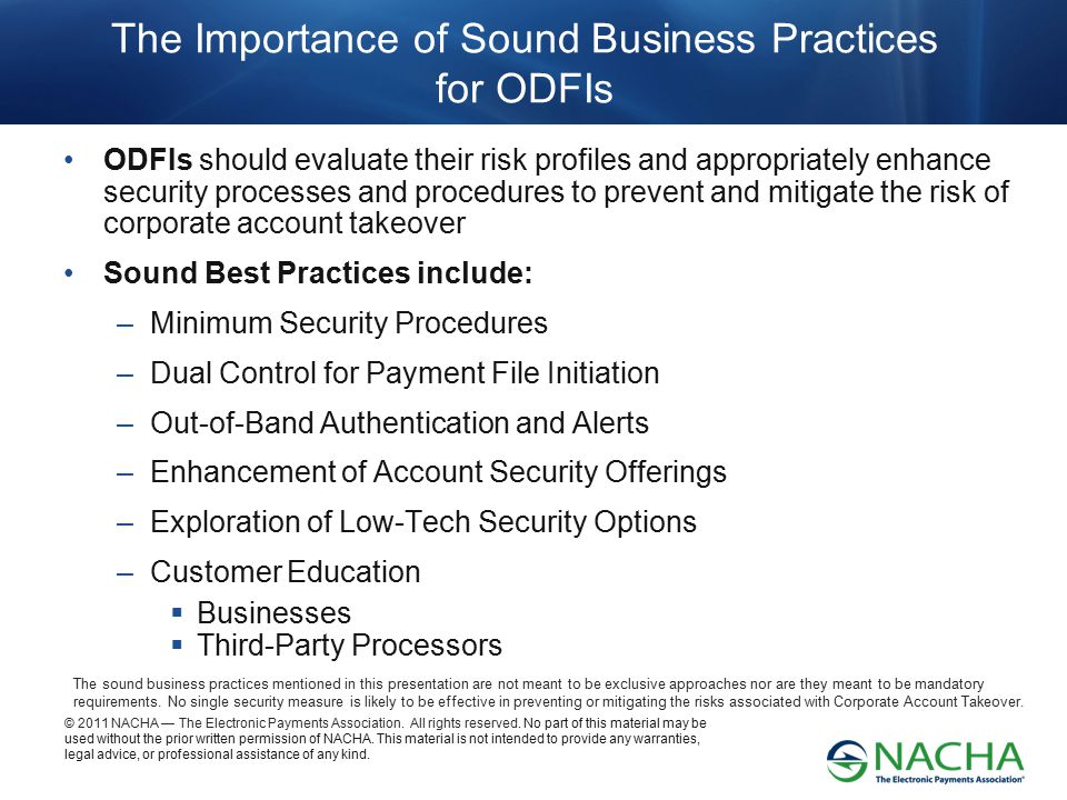 The Importance of Sound Business Practices for ODFIs
