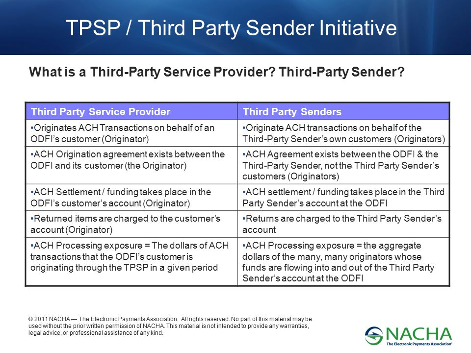 TPSP / Third Party Sender Initiative