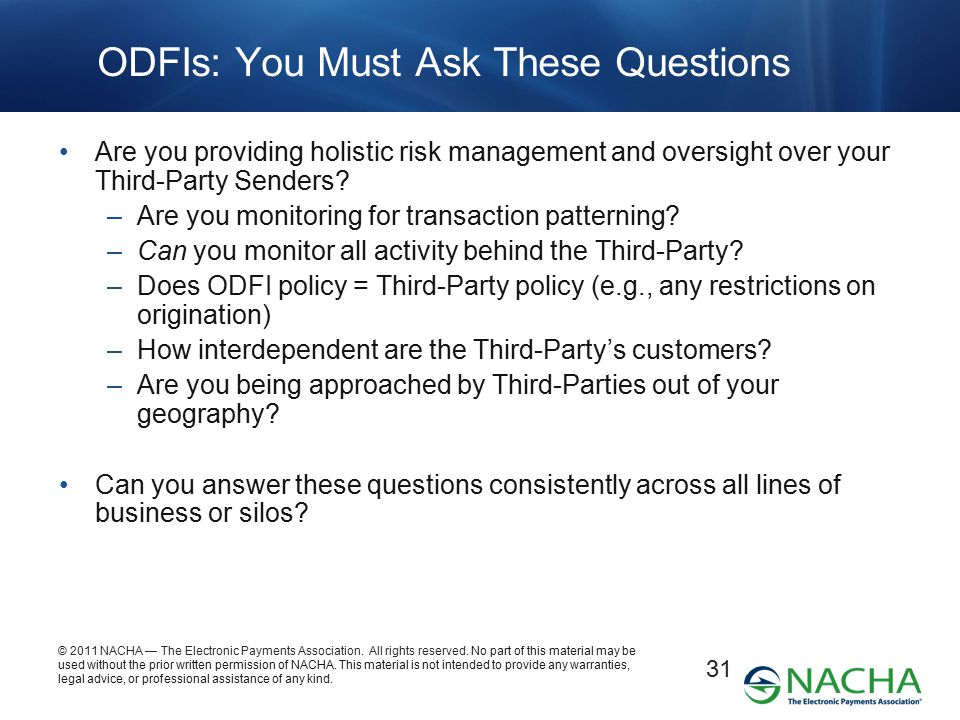 ODFIs: You Must Ask These Questions