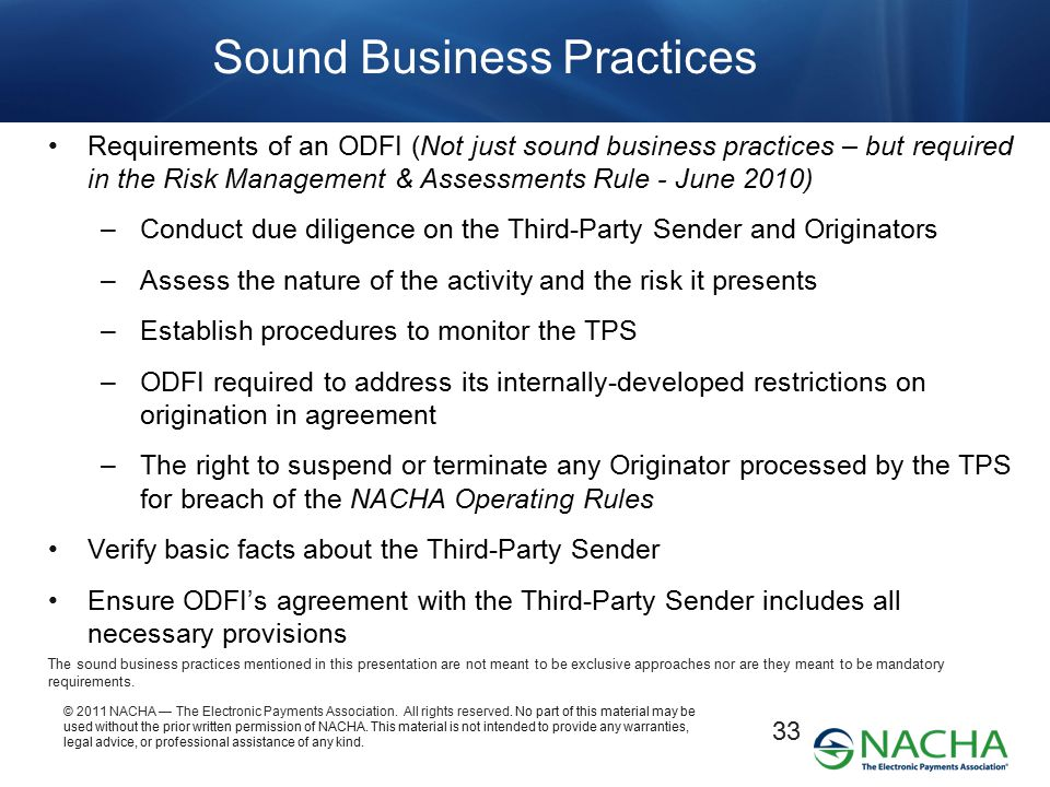 Sound Business Practices