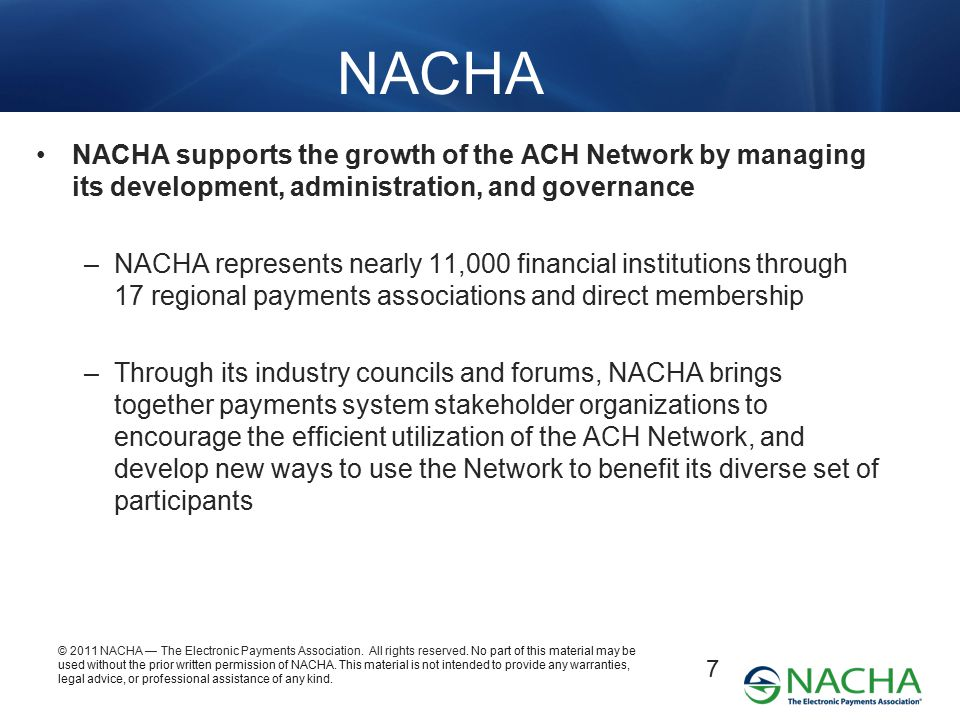 NACHA NACHA supports the growth of the ACH Network by managing its development, administration, and governance.