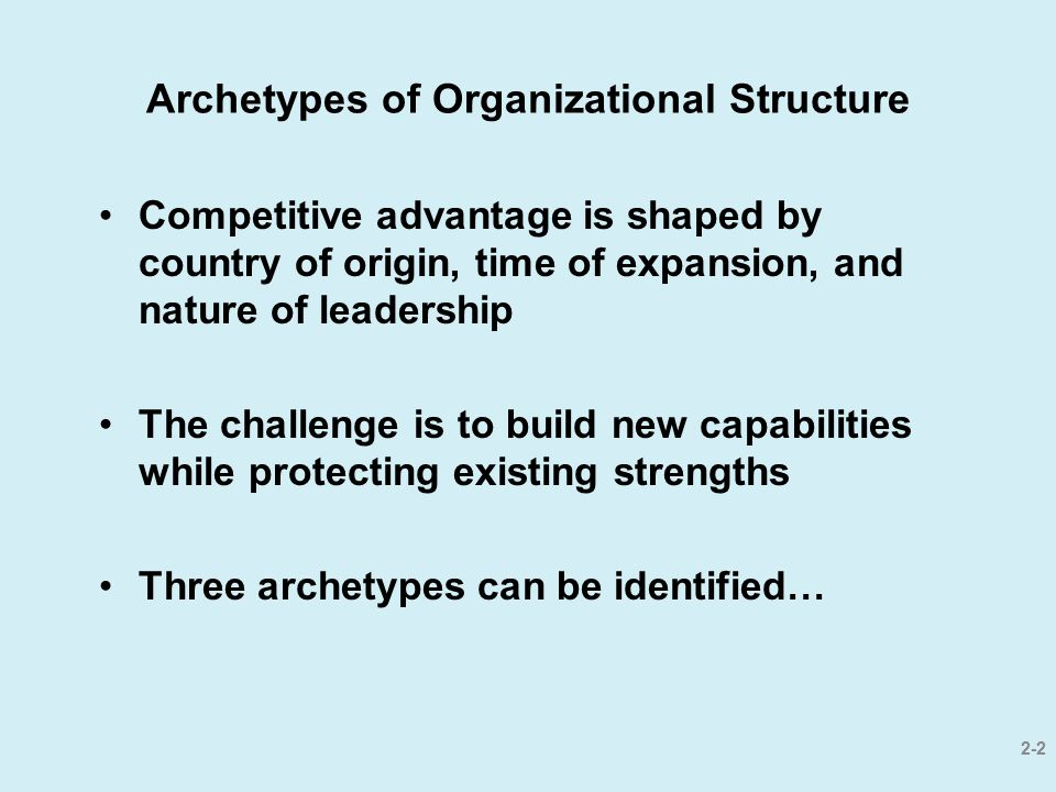 Archetypes of Organizational Structure