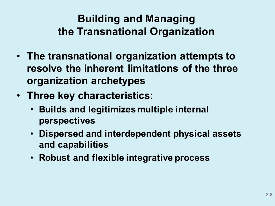 Building and Managing the Transnational Organization