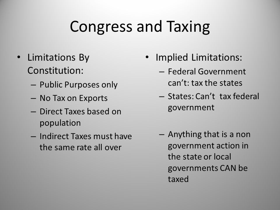 Congress and Taxing Limitations By Constitution: Implied Limitations: