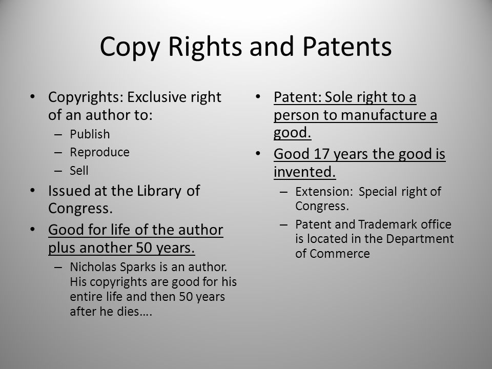 Copy Rights and Patents