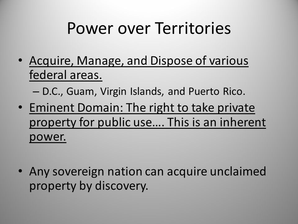 Power over Territories