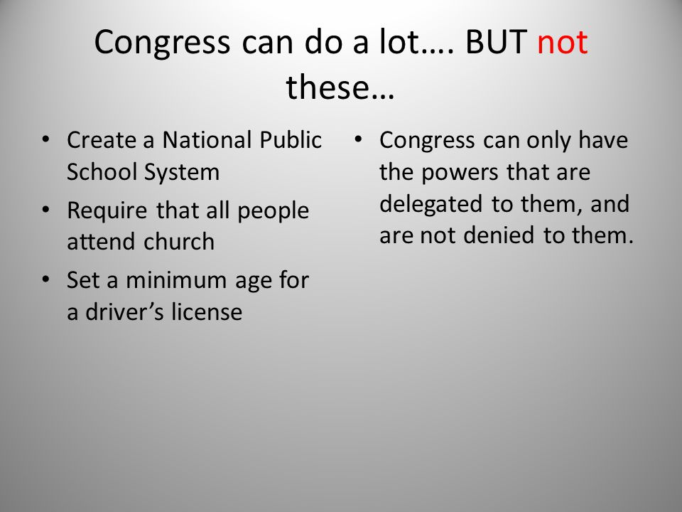 Congress can do a lot…. BUT not these…