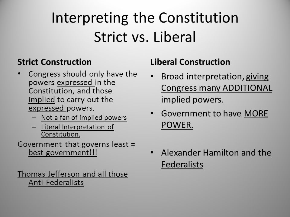 Interpreting the Constitution Strict vs. Liberal