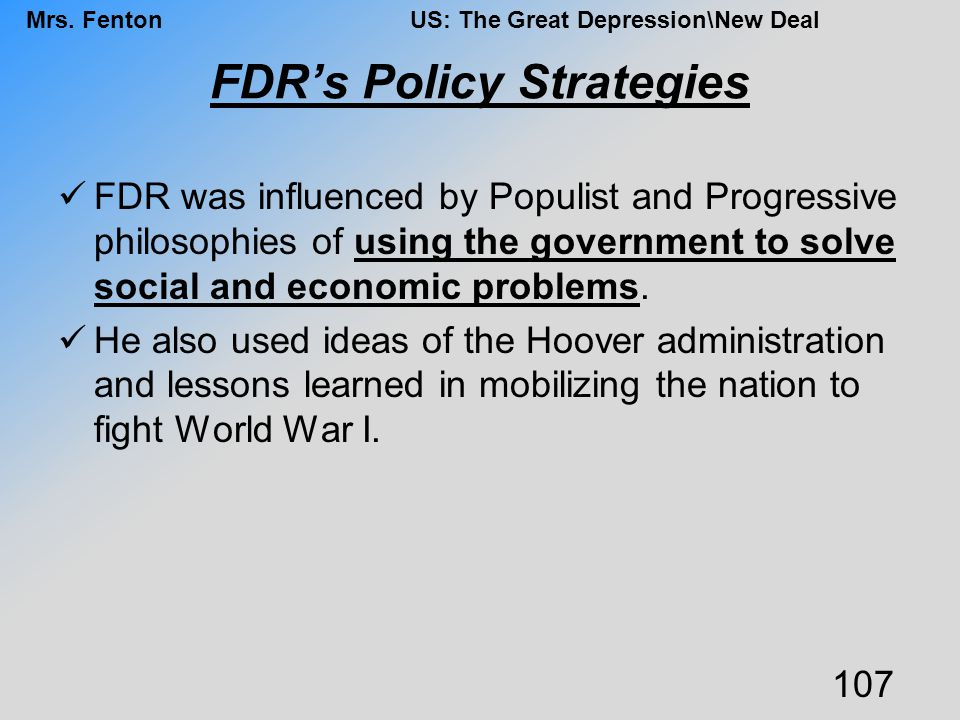 FDR's Policy Strategies
