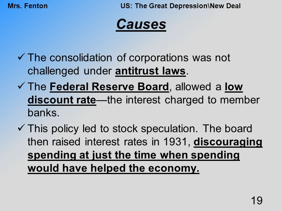 Causes The consolidation of corporations was not challenged under antitrust laws.