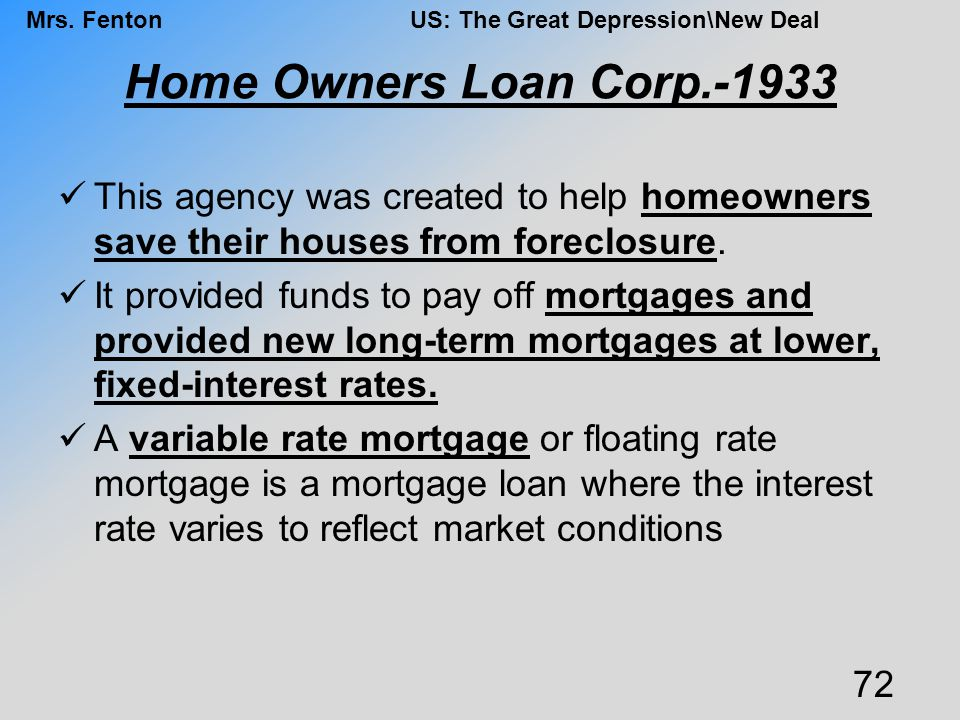 Home Owners Loan Corp.-1933 This agency was created to help homeowners save their houses from foreclosure.