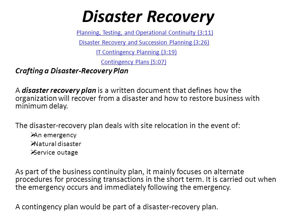 Disaster Recovery Crafting a Disaster-Recovery Plan