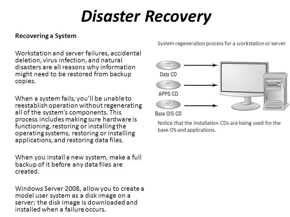 Disaster Recovery Recovering a System