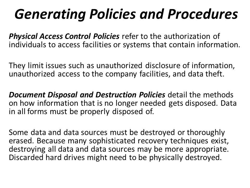 Generating Policies and Procedures