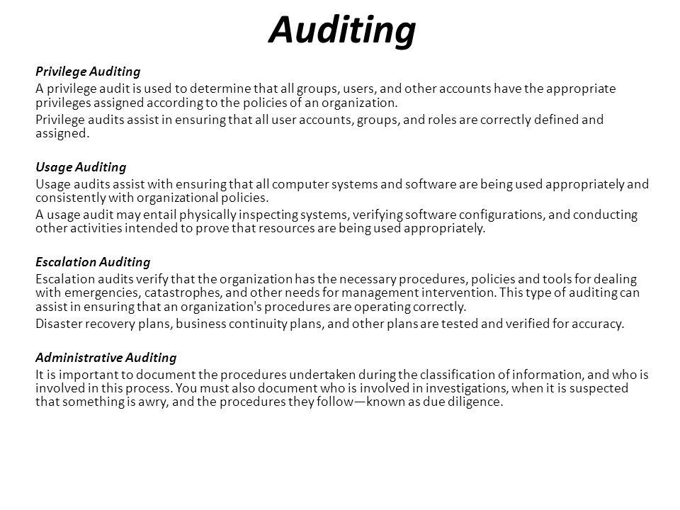 Auditing Privilege Auditing