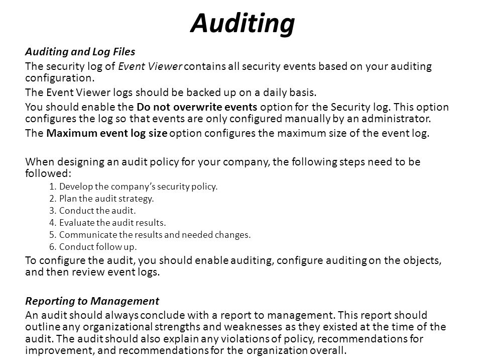 Auditing Auditing and Log Files