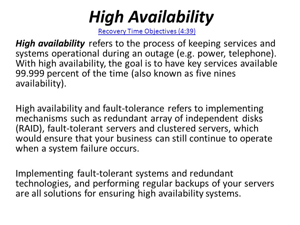 High Availability Recovery Time Objectives (4:39)
