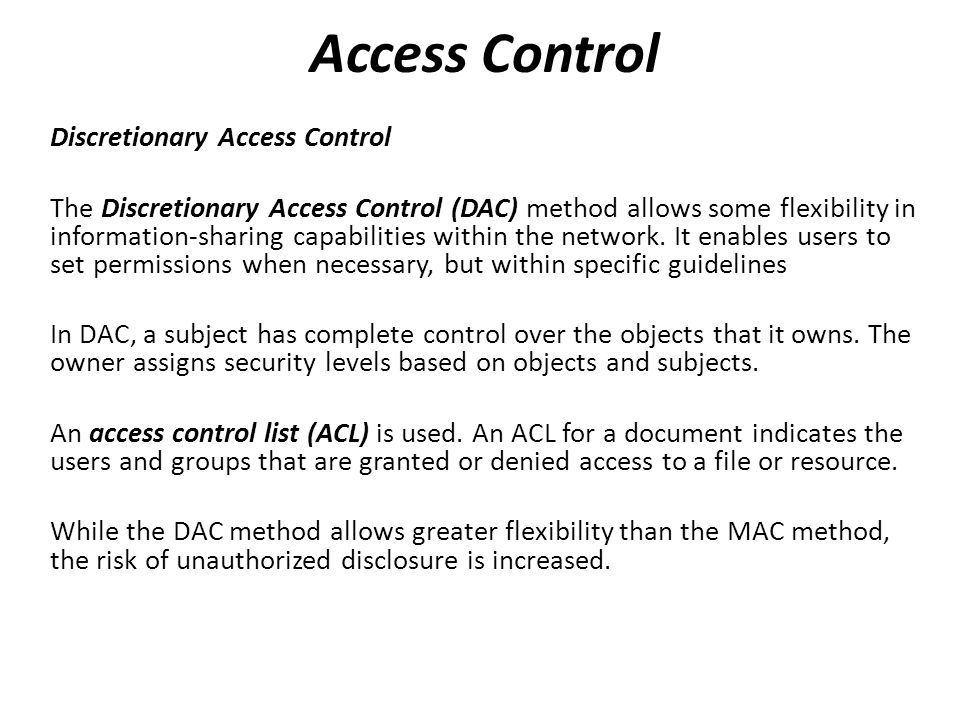 Access Control Discretionary Access Control