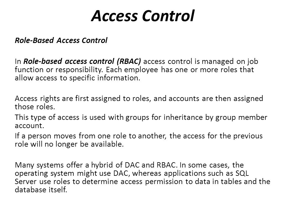 Access Control Role-Based Access Control