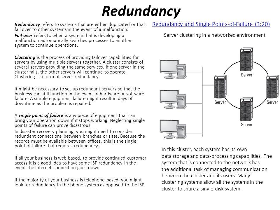 Redundancy Redundancy and Single Points-of-Failure (3:20)