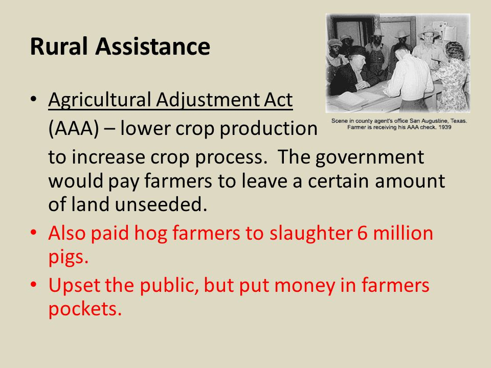Rural Assistance Agricultural Adjustment Act