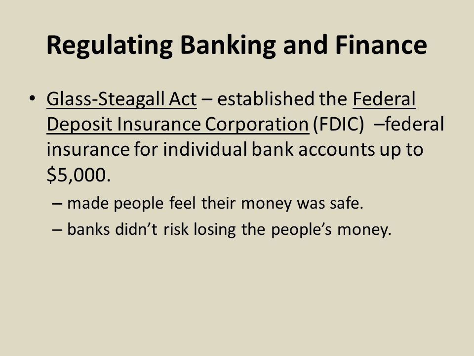 Regulating Banking and Finance