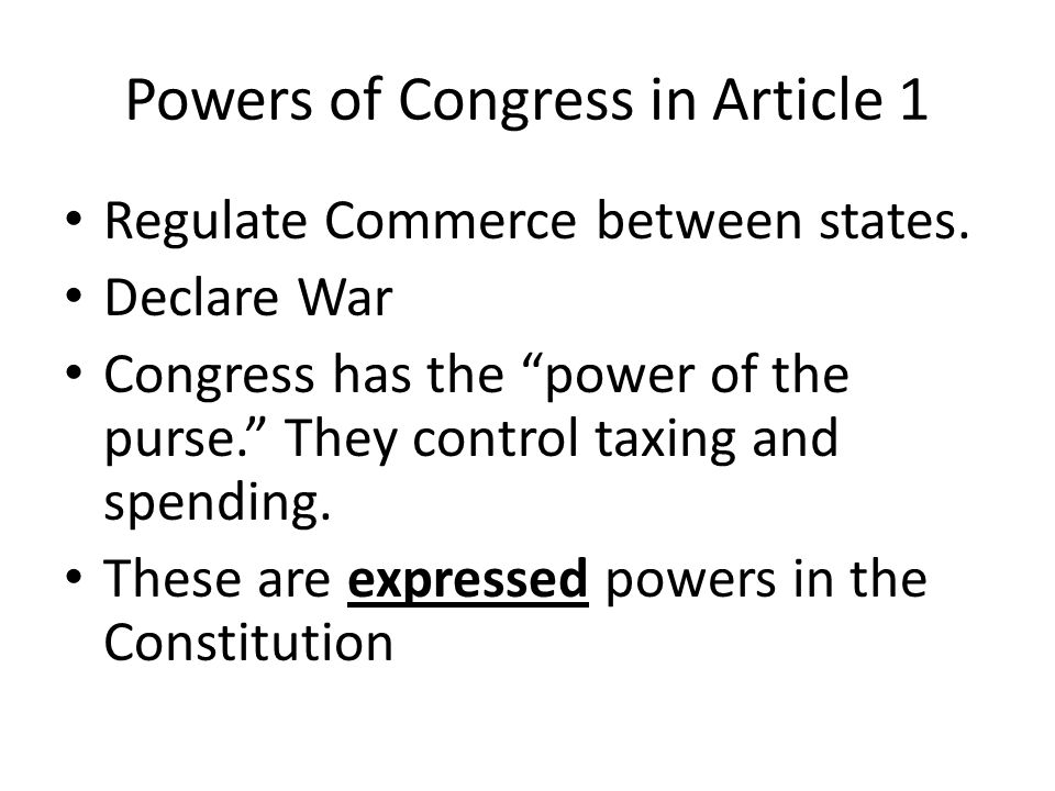 Powers of Congress in Article 1