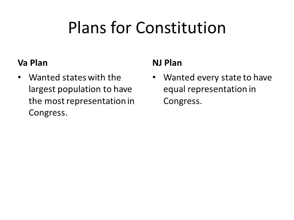 Plans for Constitution