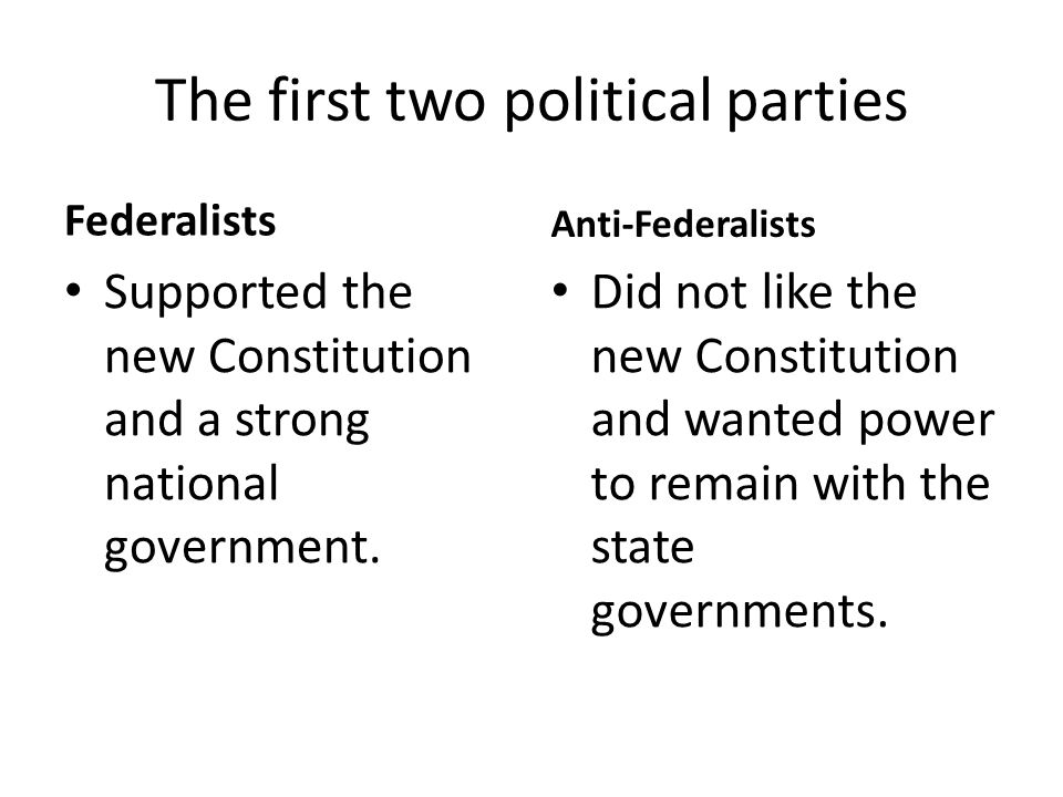 The first two political parties