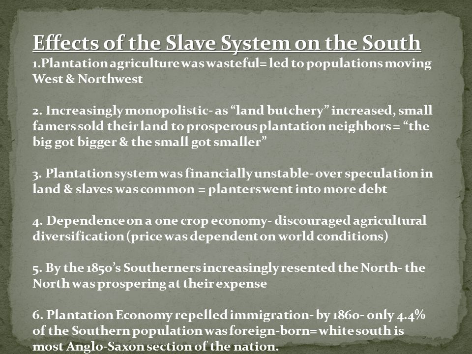 Effects of the Slave System on the South
