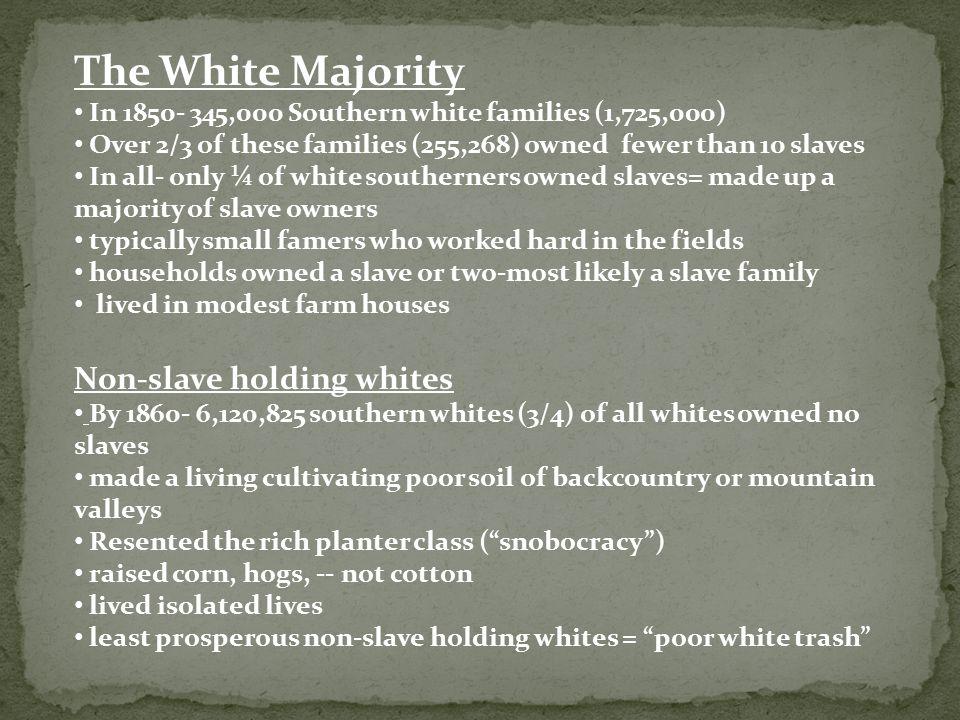 The White Majority Non-slave holding whites