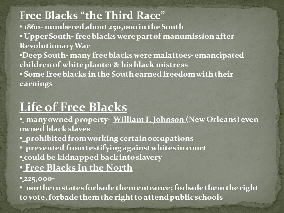 Life of Free Blacks Free Blacks the Third Race