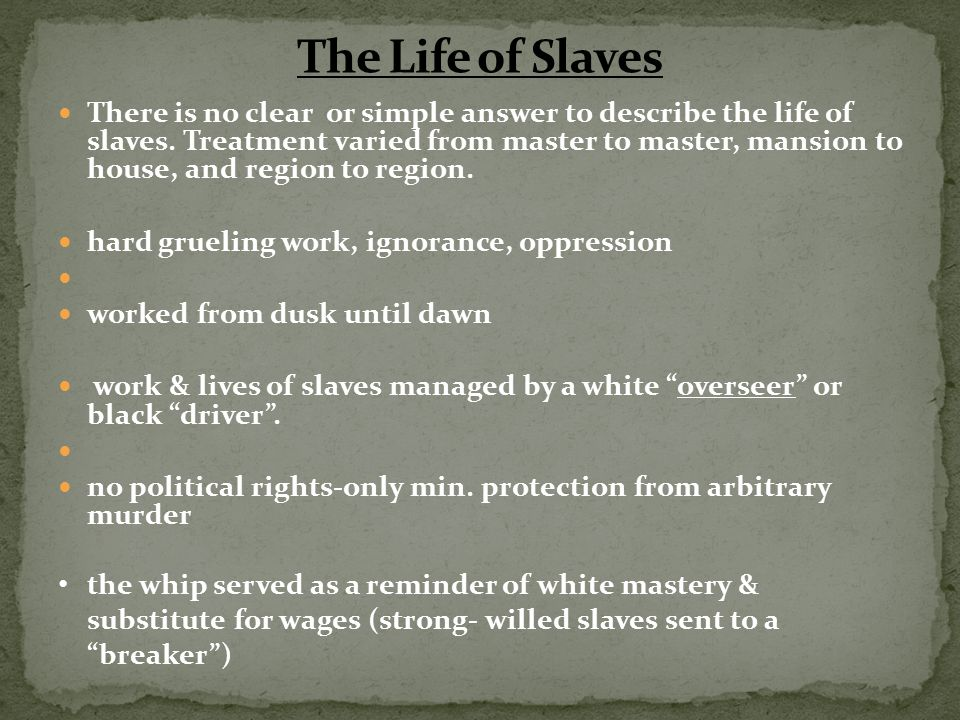 The Life of Slaves