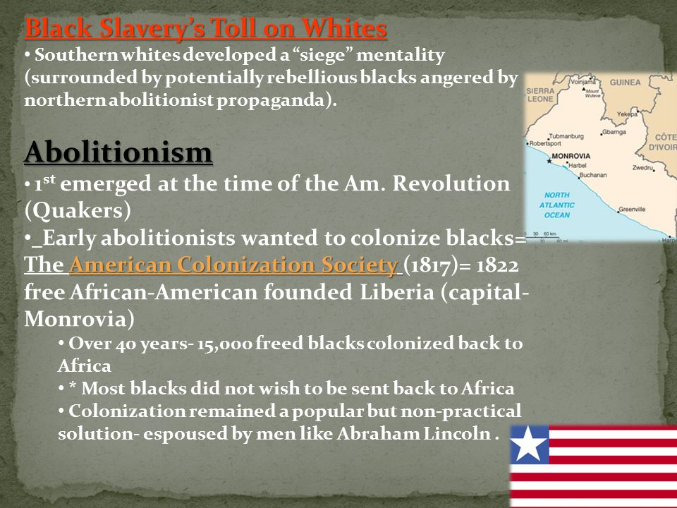 Abolitionism Black Slavery's Toll on Whites