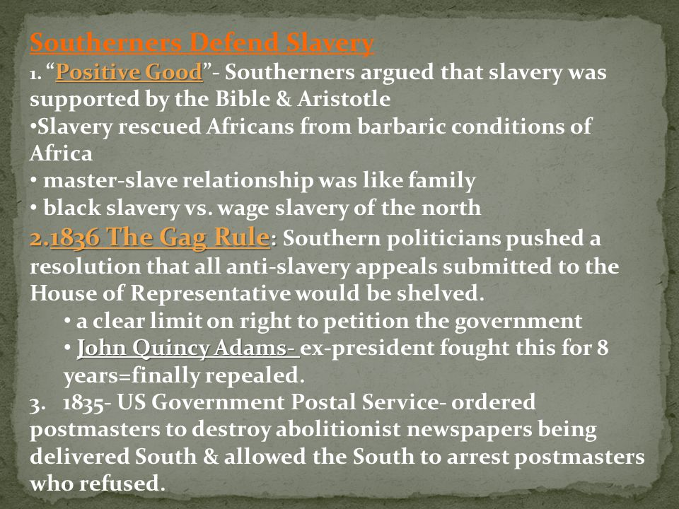 Southerners Defend Slavery