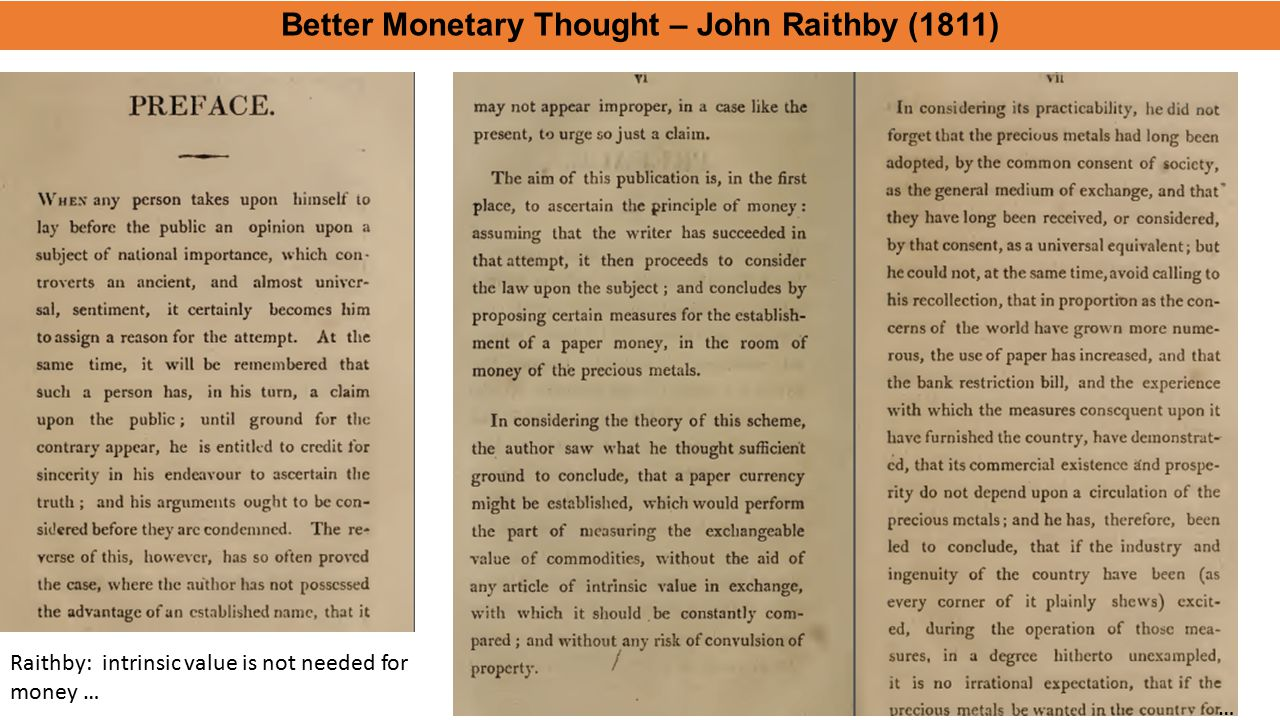 Better Monetary Thought – John Raithby (1811)