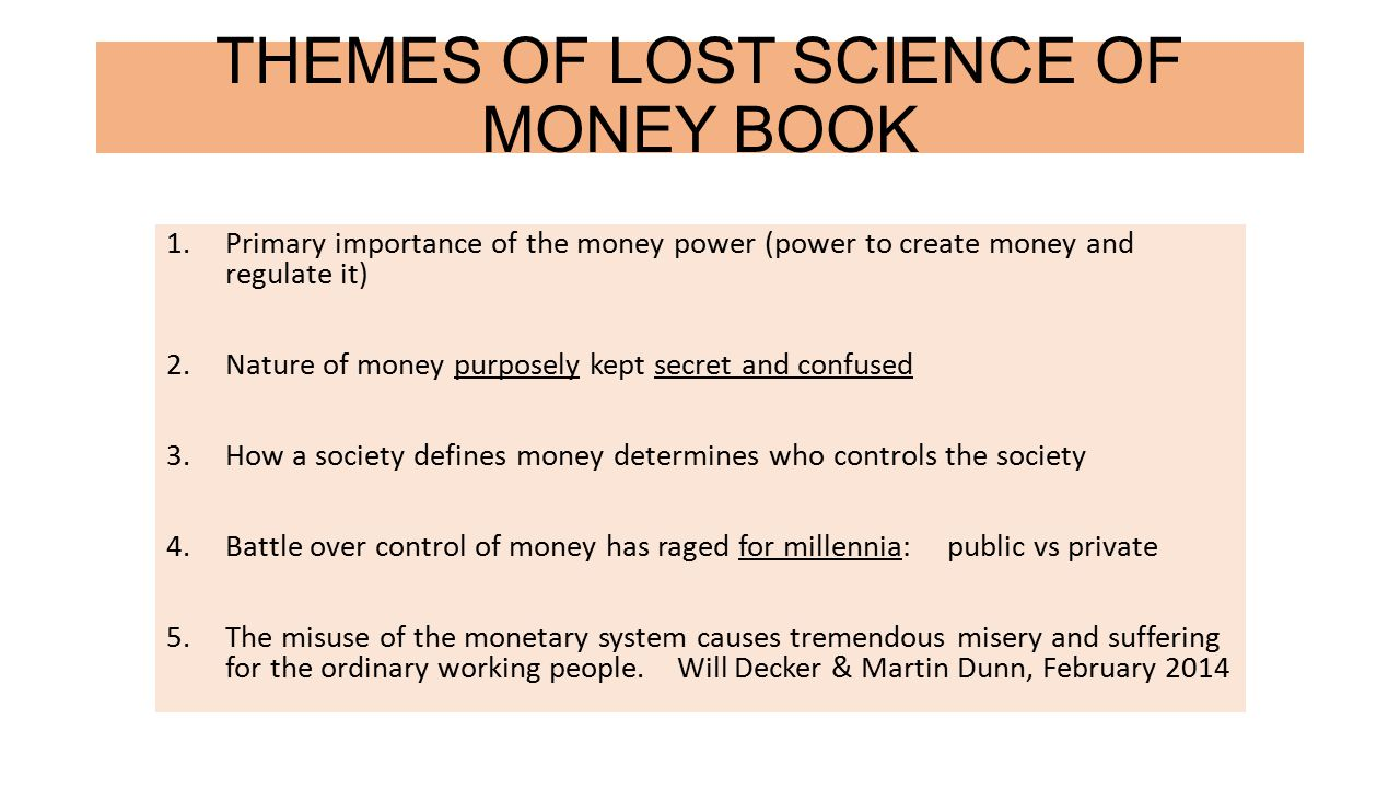 THEMES OF LOST SCIENCE OF MONEY BOOK