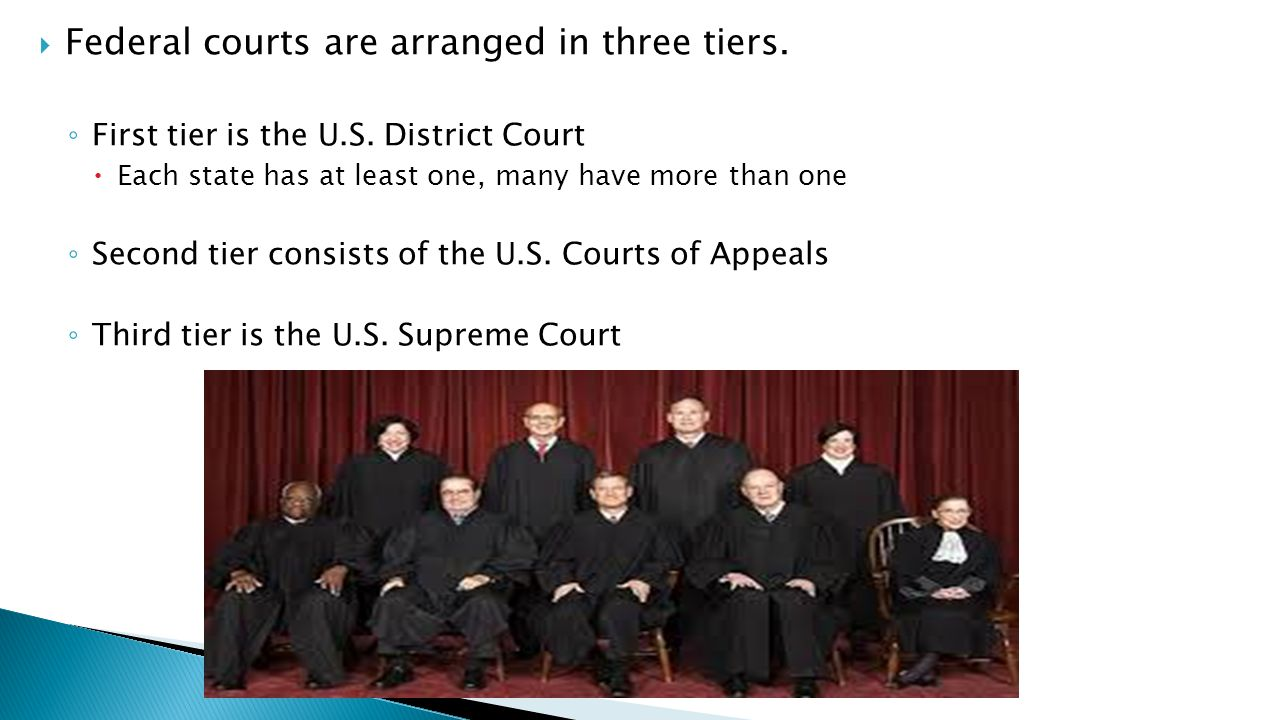 Federal courts are arranged in three tiers.