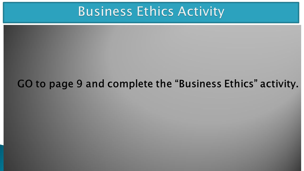 Business Ethics Activity