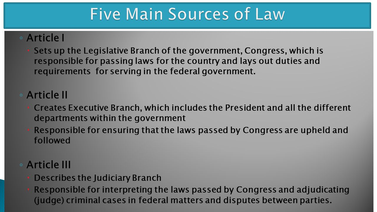 Five Main Sources of Law