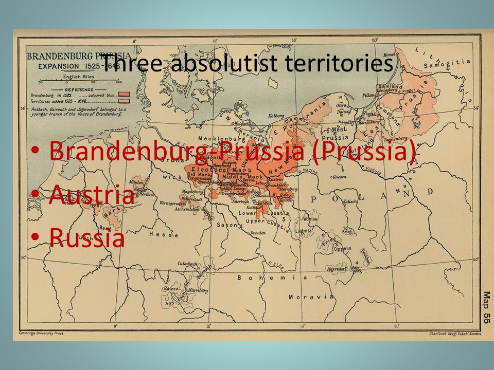 Three absolutist territories
